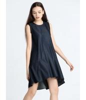 ガーベラレディース 欧米風 カジュアル Aライン ファッション デニム 丸首 袖なし ワンピース  mb10376-1