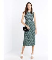 ガーベラレディース ファッション シンプル プリント フリンジ プリーツ 袖なし ロング丈 ワンピース  mb10389-1