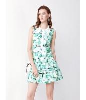 ガーベラレディース ファッション ロマンチック ピーターパン襟 プリント ストレート Aライン 袖なし ワンピース  mb10455-1