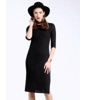 ガーベラレディース カジュアル ファッション シンプル スリット 七分袖 ワンピース  mb10501-1