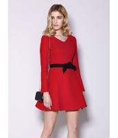 ガーベラレディース ファッション シンプル ハイウエスト 大裾 Vネック ワンピース  mb10529-1