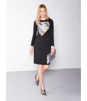 ガーベラレディース 欧米風 カジュアル 着やせ ニット プリント ファッション 丸首 半袖 ワンピース  mb10579-1