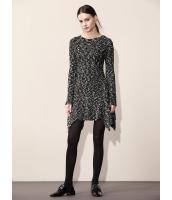 ガーベラレディース ファッション エレガント 二色 着やせ Aライン 丸首 長袖 ワンピース  mb10597-1