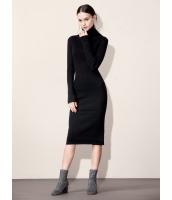 ガーベラレディース シンプル ファッション 着やせ ハイネック ロング丈 ワンピース  mb10601-1