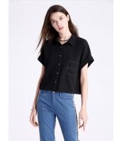 ガーベラレディース ファッション コーデアイテム ゆったり レース ポケット飾り 半袖 ショート丈 シャツ  mb10632-1