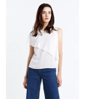 ガーベラレディース シンプル ファッション 非対称性 ゆったり 丸首 コーデアイテム ブラウス  mb10653-2