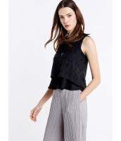 ガーベラレディース ファッション ロマンチック 立体 ぺプラム ショート丈 袖なし 丸首 ブラウス 2点セット(ブラウス+キャミソール) mb10674-1
