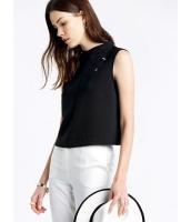 ガーベラレディース シンプル ファッション エレガント ハイネック 袖なし プルオーバー ブラウス  mb10679-1