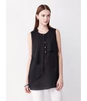 ガーベラレディース ファッション エレガント スタントカラー 非対称性 スカラップ ゆったり H型 シフォン ブラウス  mb10709-1