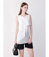 ガーベラレディース ファッション エレガント スタントカラー 非対称性 スカラップ ゆったり H型 シフォン ブラウス  mb10709-2