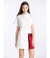 ガーベラレディース 欧米風 カジュアル ゆったり 半袖 シャツ  mb10717-1