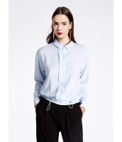 ガーベラレディース ファッション シンプル ゆったり ゴムひも裾 ショート丈 長袖 シャツ  mb10778-1