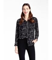 ガーベラレディース エレガント ファッション 印象派絵柄 ゆったり型 長袖 シャツ  mb10814-1