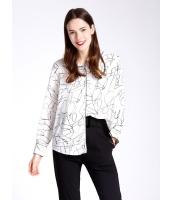 ガーベラレディース エレガント ファッション 印象派絵柄 ゆったり型 長袖 シャツ  mb10814-2
