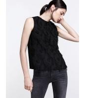 ガーベラレディース シンプル ファッション フリンジ飾り 丸首 袖なし プルオーバー ブラウス  mb10815-1