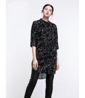ガーベラレディース エレガント ファッション 印象派絵柄 ゆったり型 半袖 ロング丈 シャツ  mb10823-1