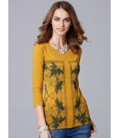 ガーベラレディース 欧米風 ポタニカル ロング丈 八分袖 Tシャツ mb11025-1