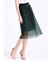 ガーベラレディース ロマンチック ファッション 不規則 立体 プリーツ ダブルレイヤー ゴムウエスト ストレート ひざ下スカート mb11054-1