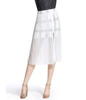 ガーベラレディース チェック ファッション シフォン シースルー プリーツスカート mb11086-2