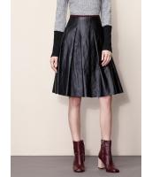 ガーベラレディース ファッション レトロ PUレザー 大きい裾 Aライン スカート mb11154-1