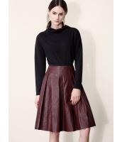 ガーベラレディース ファッション レトロ PUレザー 大きい裾 Aライン スカート mb11154-2