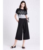 ガーベラレディース ファッション 純色 ハイウエスト シンプル 薄手 八分丈 ワイドパンツ mb11420-1