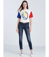 ガーベラレディース 欧米風 カジュアル ファッション コーデアイテム ハイウエスト デニム ジーンズ ロールアップ mb11498-1