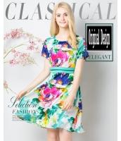 ガーベラレディース エレガント ファッション 着やせ 半袖 Aラインワンピース mb11597-1