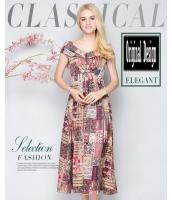 ガーベラレディース 着やせ ロング丈 不規則 ドレス 半袖 ワンピース mb11606-1