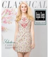 ガーベラレディース ファッション 半袖 着やせ 刺繍 小花 ワンピース mb11629-1