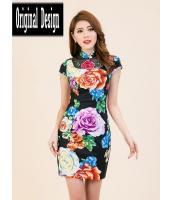ガーベラレディース ニューバージョン ファッション 刺繡入り 着やせ チャイナードレス ワンピース mb11797-4