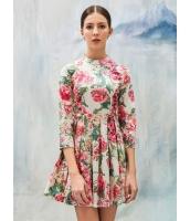 ガーベラレディース エレガント ファッション スタンドカラー プリーツ 着やせ ワンピース mb11865-2