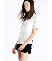 ガーベラレディース 欧米風 おおらか ファッション エレガント シルク 半袖 丸首 シャツ mb11893-1