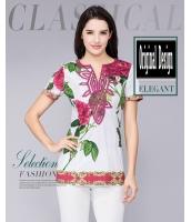 ガーベラレディース レトロ Tシャツ 大きいサイズ 着やせ 半袖 mb11978-1