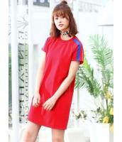 ガーベラレディース 韓国風 ファッション シンプル ストレート 丸首 半袖 ワンピース mb11987-1