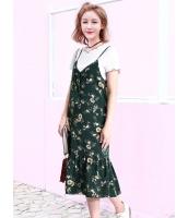 ガーベラレディース 韓国風 ファッション 小花 フィッシュテール キャミソールワンピース mb11994-1