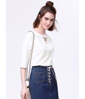 ガーベラレディース 韓国風 ファッション 清楚 ホロー ドロップショルダー プルオーバー ブラウス mb12009-2