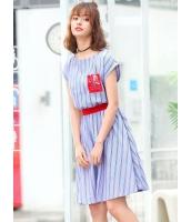 ガーベラレディース 韓国風 ファッション ボーダー ウエスト引き締め ボートネック ミニAライン ワンピース mb12015-1