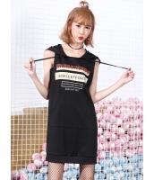 ガーベラレディース 韓国風 ファッション 文字入り フード付き ストレート 袖なし ワンピース mb12020-1