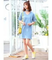 ガーベラレディース 韓国風 ファッション デニム 精緻 フリンジ ストレート ワンピース mb12021-1