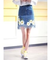 ガーベラレディース 韓国風 ファッション 刺繡入り フリンジ ミニAライン デニム スカート mb12022-2