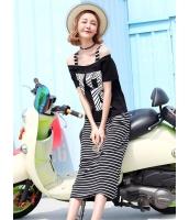 ガーベラレディース 韓国風 ファッション ボートネック 文字入り ボーダー 2点セット ストレート ワンピース mb12031-2