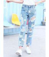 ガーベラレディース 韓国風 ファッション 不規則 ダメージ ストレート デニム ジーンズ ロールアップ mb12045-1