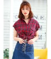 ガーベラレディース 韓国風 ストリートファッション 文字入り 格子 半袖 シャツ mb12084-2