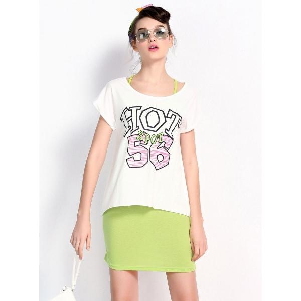 ガーベラレディース 韓国風 文字入り 不規則 裾 ストレッチ性 2点セット ワンピース Tシャツ mb12115-1