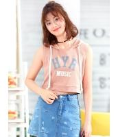 ガーベラレディース 韓国風 ファッション 文字入り 袖なし ショート丈 パーカー mb12129-1