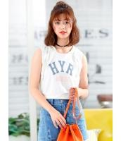 ガーベラレディース 韓国風 ファッション 文字入り 袖なし ショート丈 パーカー mb12129-2
