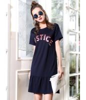 ガーベラレディース 欧米風 個性派 ストリートファッション トレンディ スパンコール ぺプラム裾 丸首 半袖 ワンピース mb12148-1