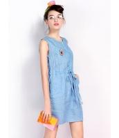 ガーベラレディース 韓国風 ファッション コーデアイテム ドット・水玉 通気性 デニム 紐調節 着やせ 袖なし ミニワンピース mb12210-1