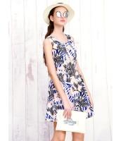 ガーベラレディース 韓国風 トロピカル 花柄 着やせ 袖なし ミニワンピース mb12212-1